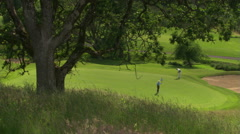 Two golfers viewed from a grassy hill as one putts and the other removes and Stock Footage