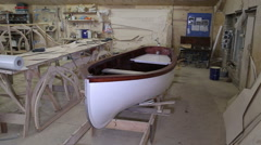 Completed the construction of the boat at the shipyard - stock footage
