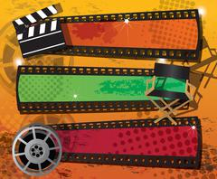 Set of three movie banners on grungy background with place for text, vector Stock Illustration
