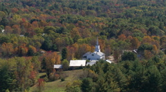 Orbiting rural New England church Stock Footage