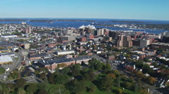 Flying seaward over Portland, Maine Stock Footage