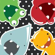Set of cute little monsters on dotted background, vector - stock illustration