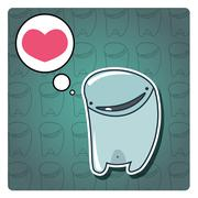 Monster happy birthday, or valentine's card with cute monster, vector - stock illustration