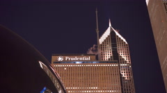 Prudential Building in downtown Chicago seen from Millennium Park 4k Stock Footage
