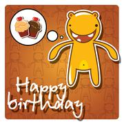 Happy birthday card with cute colorful monster, vector - stock illustration