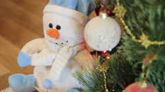 Snowman, stuffed toys, Christmas gifts - stock footage