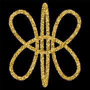Golden glittering logo template Stock Illustration