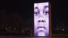 Crown Fountain art exhibit in downtown Millennium Park Chicago at night 4k Stock Footage