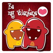 Valentine's card with cute monsters and a message, vector - stock illustration