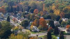 Flight over neighborhood in Pittsfield, Massachusetts Stock Footage