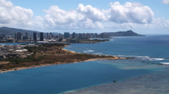 Flying past Honolulu with Diamond Head in distance. Shot in 2010. Arkistovideo