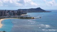 Flying past Waikiki toward Diamond Head. Shot in 2010. Stock Footage