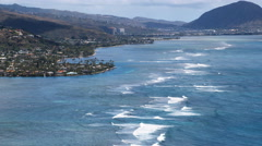 Wide view of the coastline of Aina Haina, residential area in Honolulu. Shot in Stock Footage