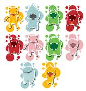 Stock Illustration of Set of cute little monsters on dotted background, vector