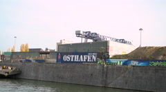 Main river flowing through Osthafen in downtown Frankfurt Germany 4k Stock Footage