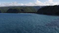 Flying toward mouth of Pololu Valley, Hawaii. Shot in 2010. Stock Footage