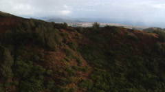 Over ridge on Lihue to view of Nawiliwili Bay, Kauai. Shot in 2010. Stock Footage