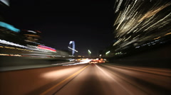 Downtown Los Angeles drive with light streaks - stock footage