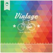 Vintage retro hipster label, typography, geometric design elements, vector il - stock illustration