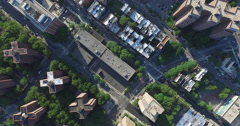 NYC Aerial Shot Flying Over Apartment Buildngs Stock Footage