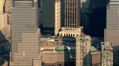 Aerial zoom-out from former World Trade Center site. Shot in 2003. Stock Footage