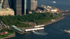 Flying past Battery Park and Lower Manhattan. Shot in 2003. - stock footage
