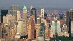 Flight paralleling Manhattan skyline from waterfront. Shot in 2003. Stock Footage