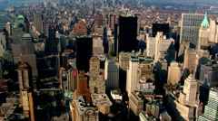 Flight over Manhattan to view of Ground Zero. Shot in 2003. Stock Footage