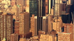 Flying north over Midtown Manhattan skyscrapers. Shot in 2003. Stock Footage