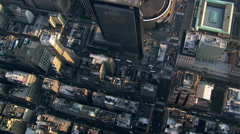 Flight looking down onto Manhattan rooftops and streets. Shot in 2003. Stock Footage