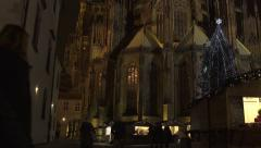 St. Vitus Cathedral Prague Timelapse at Night Stock Footage