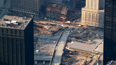 Flight looking down onto Freedom Tower foundation construction. Shot in 2003. - stock footage
