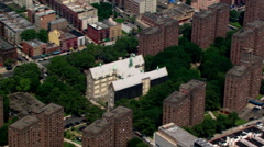 Rotating aerial view from East 99th Street to Central Park. Shot in 2003. Stock Footage