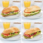 Healthy eating collection of sub deli sandwiches baguettes for breakfast with Stock Photos