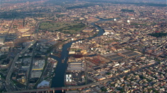 High aerial view of Brooklyn from the East River. Shot in 2003. Stock Footage