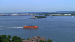 Flying past Statue of Liberty. Shot in 2006. Stock Footage