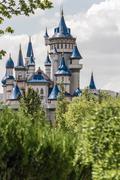 Fairytale Castle Behind Trees in Public Cultural Park, Eskisehir - stock photo