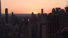 Flying over Manhattan at sunset. Shot in 2006. Stock Footage