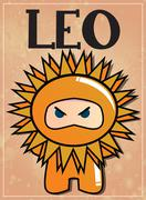 Zodiac sign Leo with cute black ninja character Stock Illustration