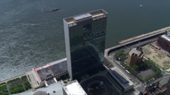 Partial orbit of UN Building, looking toward East River. Shot in 2006. - stock footage