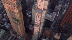 Flight discovering rooftop garden on New York's 7th Avenue. Shot in 2006. Stock Footage