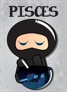 Zodiac sign Pisces with cute black ninja character - stock illustration