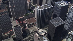 Diagonal flight above Manhattan buildings toward Times Square. Shot in 2006. Stock Footage