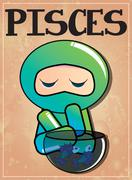 Stock Illustration of Zodiac sign Pisces with cute black ninja character