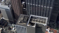 Flying among tall buildings of New York's Financial District. Shot in 2006. Stock Footage