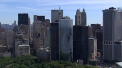 Flying around tip of Manhattan, looking back toward Wall Street. Shot in 2006. Stock Footage