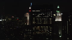Night flight past Empire State Building and surroundings. Shot in 2005. Stock Footage