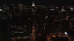 Slow night flight along Manhattan's East Side. Shot in 2005. Stock Footage