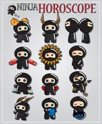 Zodiac signs with cute ninja characters in different colors Stock Illustration