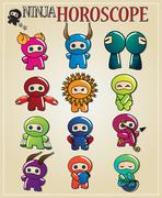 Zodiac signs with cute ninja characters in different colors - stock illustration